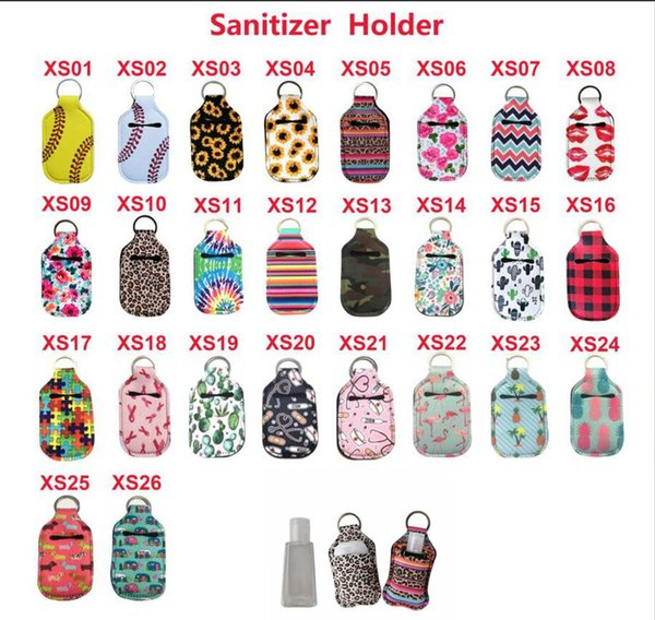 best selling Neoprene 30ML Sanitizer Bottle Holder 39 Styles Keychain Bags Key Rings Hand Soap Bottle Holder Novelty Items OOA7884
