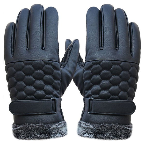NEW Fashion Anti Slip Men Thermal Winter Sports Leather Touch Screen Gloves warm for male hot sale Free shipping