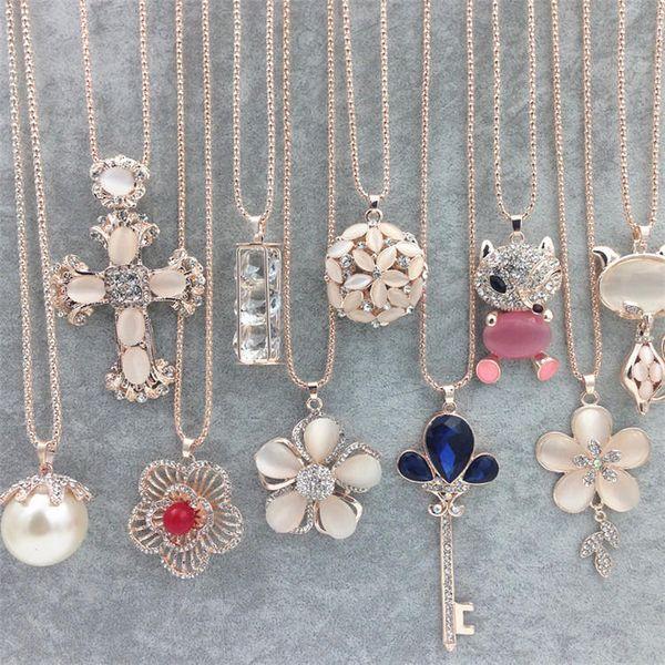 Heißer Pullover Kette Stein Halsketten Anhänger Neue Schmuck Rose Blume Kreuz Katzenauge Edelstein Eule Swarovski Kristall Mode Anhänger Halskette