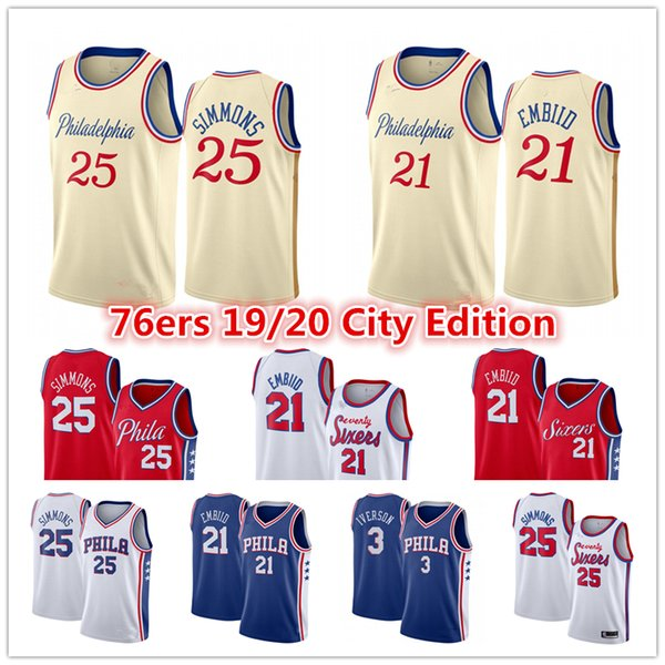 top popular Joel 21 Embiid Ben 25 Simmons Jersey Al Horford Allen 3 Iverson Philadelphia