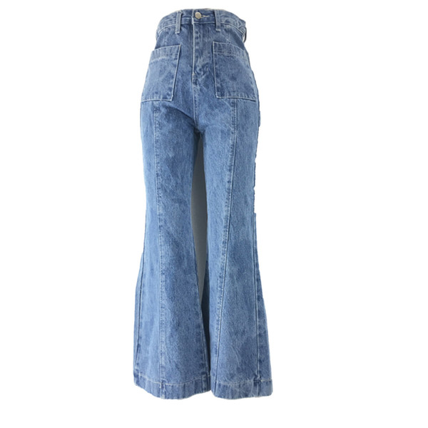 Fashion High Waist Women Loose Denim Mom Jeans Street Mujer Wide Leg Pants Vintage Washed Casual Trousers Color Blue