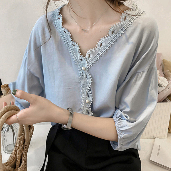 Women Lace Blouse Shirt Plus Size 4xl Crochet Womens Tops And Blouses Pearls Half Sleeve Off Shoulder Deep V Loose Blusas Mujer Q190518