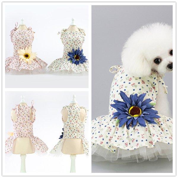 F142 собачьи цветочные платья щенок сладкая юбка собака летнее платье домашнее животное кошка летнее хлопковое платье новый стиль