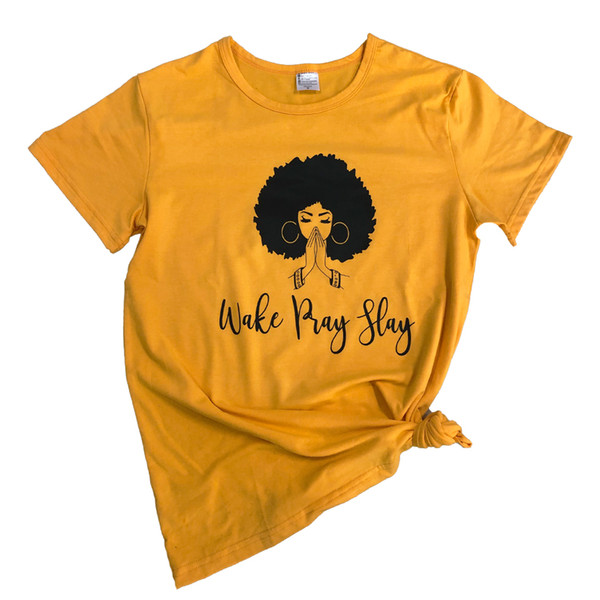 Wake Pray Slay T-Shirt Funny Graphic Letter Casual Wake Sloan Tee Black Queen Girl Power Feminist Shirt Grunge quote Tops