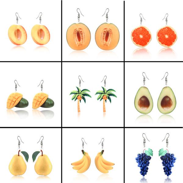 Pendientes de acrílico de frutas Melocotones de frutas Plátano Uva Coco Pendientes de palmeras Anillos de oreja Cuelga Joyería de moda Will y Sandy Drop