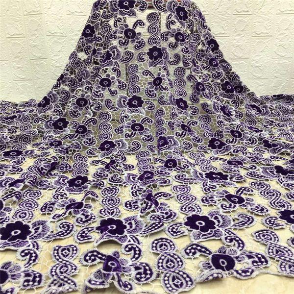 Última terciopelo tejido de alta calidad del cordón de 2020 vestido de novia africana material del cordón africano del bordado del cordón de las lentejuelas Para