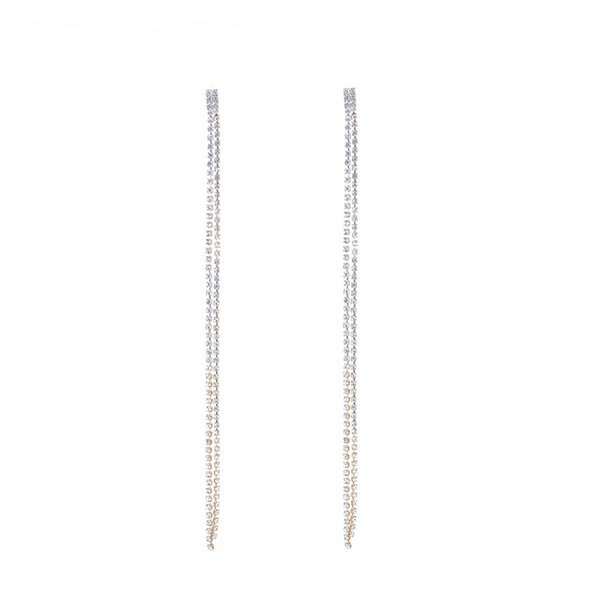 Exaggerated Long Crystal Beads Earrings For Women Jewelry Accessories Elegant Full Rhinestone Dangle Drop Earring Wholesale New Arrival 17cm