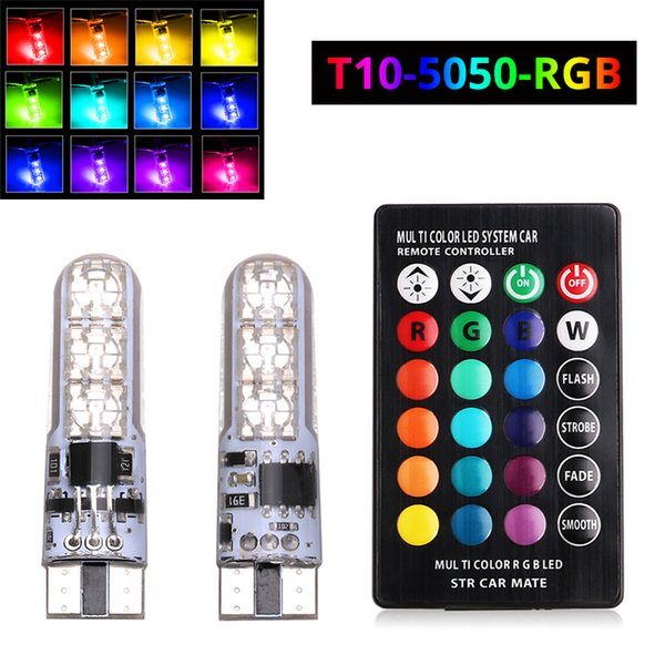 2x T10 W5W LED Car Lights LED Bulbs RGB 194 168 501 Strobe Lamp Reading Lights With Remote Control White Red Amber 12V