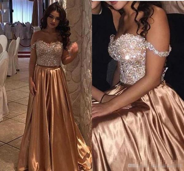 2017 Árabe Ouro Duas Peças Beads Cristal Bling Vestidos de Baile Fora Do Ombro de Cetim Longo Plus Size Pageant Vestido de Festa Formal Vestidos de Noite