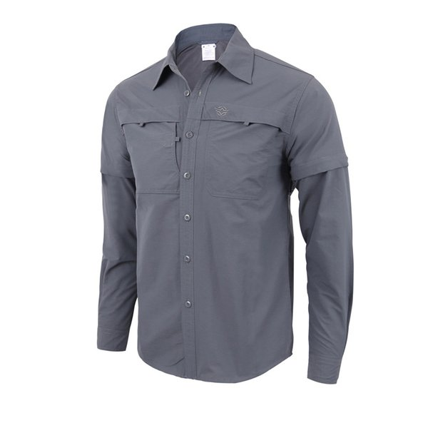 2018 men's convertible shirts outdoor lightweight quick drying hiking camping shirts long sleeve shirt breathable quick-drying coat thumbnail