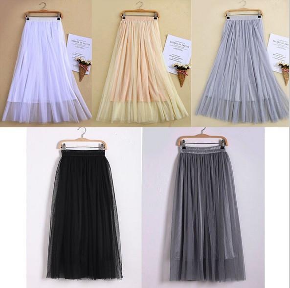top popular New Arrivals Tulle Skirts Womens 2017 Summer Fashion High Waist Long Slim Skirt Elastic Waist Sun Fluffy Tutu Skirt 2021