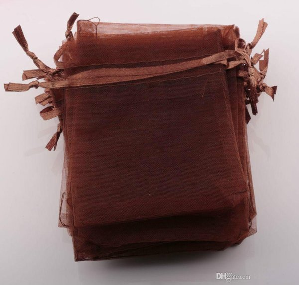 Hot Sales ! 100pcs COFFE BROWN Drawstring Organza JEWELRY Gift packing Bags 7x9cm 9x12cm 10x15cm Wedding Party Christmas Favor Gift Bags