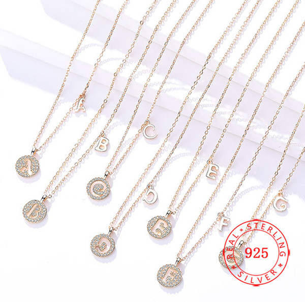 Sterling Silver A-Z English Alphabet Initial Necklace Silver Rose Gold Plated Capital Letter pendant Fashion Jewelry for Women DROP SHIP