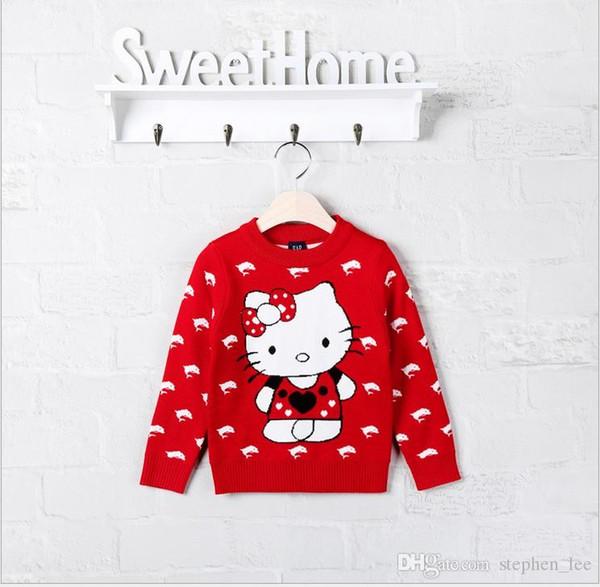 Venta al por menor 2017 Nuevo Otoño Invierno Niñas Suéteres de dibujos animados Cute Girl Knitted Hello Kitty Sudaderas Niños Moda Pullover 100-140cm RedBlue