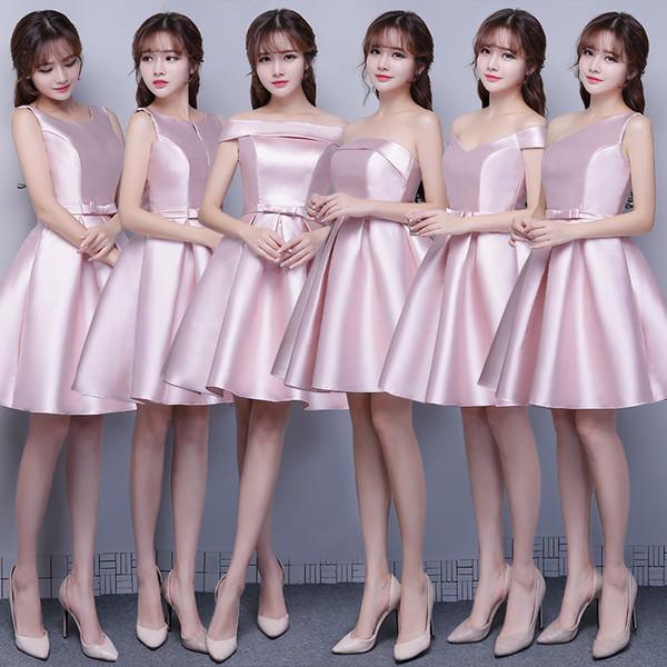 Compre Vestidos Cortos Para Damas De Honor Cortos Vestidos De Dama De Honor De Primavera Vintage Blush Pink Formal Vestidos De Fiesta Menores De 100 A
