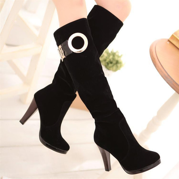 Sexy2019 Sexy Repair The Leg Waterproof Platform Coarse High With Belt Buckle Knight Boots M45