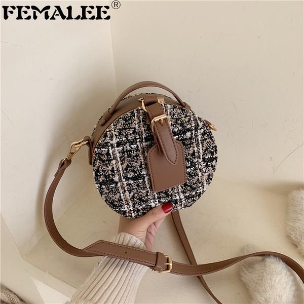 women small circle pu leather handbag tweed fashion shoulder bag lady round travel tote bag female retro plaid crossbody