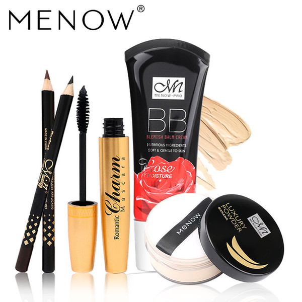MENOW Marque Maquillage ensemble Golden tubes mascara épais Ensemble Avec Cadeau Deux Crayon Huile de Banane Poudre Libre Rose BB Cream5355