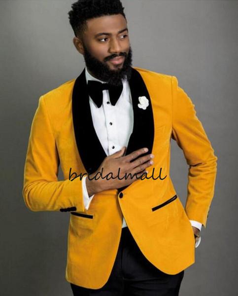 Yeni 2020 Sarı Kadife Erkekler Düğün Smokin Siyah Yaka Damat smokin Tasarımcı Erkekler Blazer 2 Adet Suit Balo / Akşam / Formal Coat (Ceket + Pantolon)