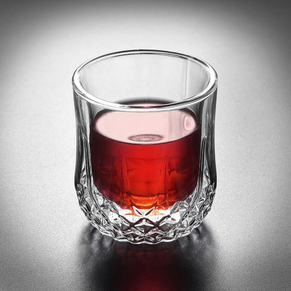 New 2019 Glass Double Layer Whiskey Cups High Quality Transparent High-end Bar Glass Wine Cup Wholesale