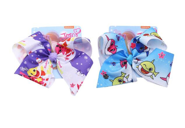 DROP SHIPPING jojo siwa hair bow unicorn cartoon shark baby 8 inch Printed Ribbon bowknot Jumbo Hair Bow with clip Hair Accessories 8PCS/