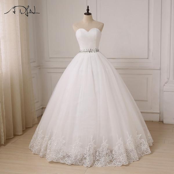 Adln Cheap Stock Wedding Dress Robe De Mariee Ball Gown Sweetheart Tulle Bride Dresses Vestido De Noiva Custom Plus Size Y19072901