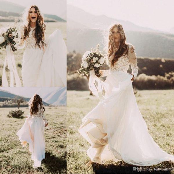 Дешевые богемные пляжные кружевные свадебные платья с длинными рукавами Bateau Neck A Line Аппликация из шифона Boho Свадебные платья
