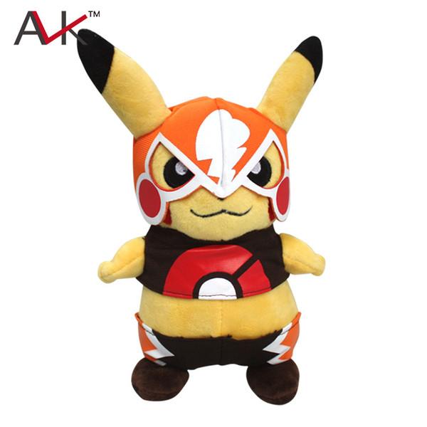 Cute Stuffed Animal New 22cm Plush Toys Fashion Cute Cartoon Pikachu Wear A Mask Soft Stuffed Dolls for Kids Brinquedos