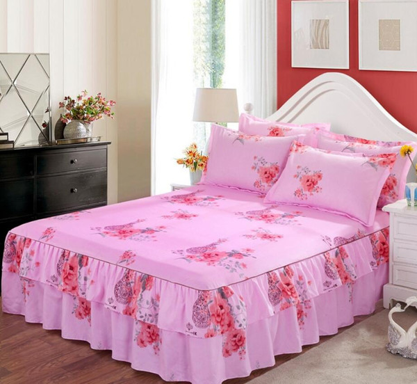 Pink Floral Print Bedspread Pillowcases Princess Bed Skirt Fitted Sheet Girls Bedclothes Bed cover 1.2/1.5 M Mattress Cover