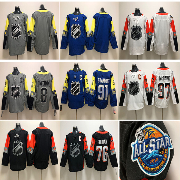 huge selection of 669c1 2b5eb 2019 2018 NHL All Star Hockey Jersey 97 Connor McDavid 8 Alex Ovechkin 91  Steven Stamkos 76 P. K. Subban White Black Blue Gray Hockey Jerseys From ...
