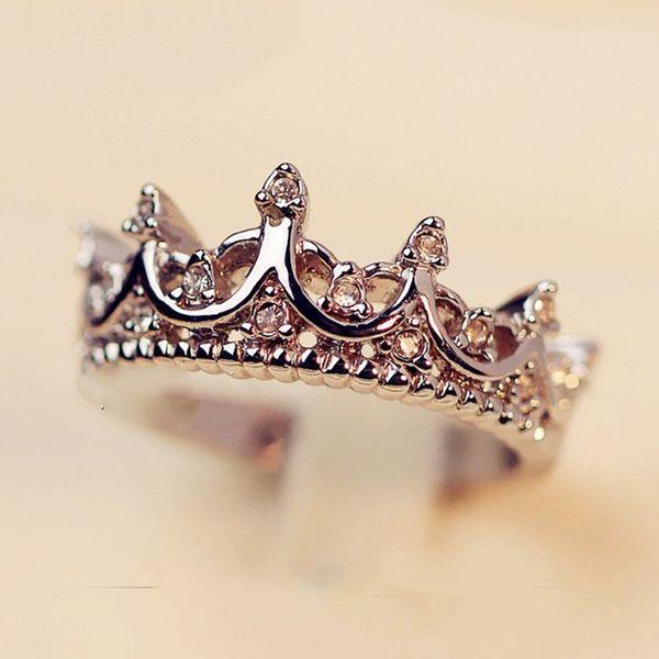 Vintage Silber Kristallbohrer Hohlkronenförmige Königin Temperament Ringe Für Frau Persönlichkeit Hochzeit Engagement Geschenke