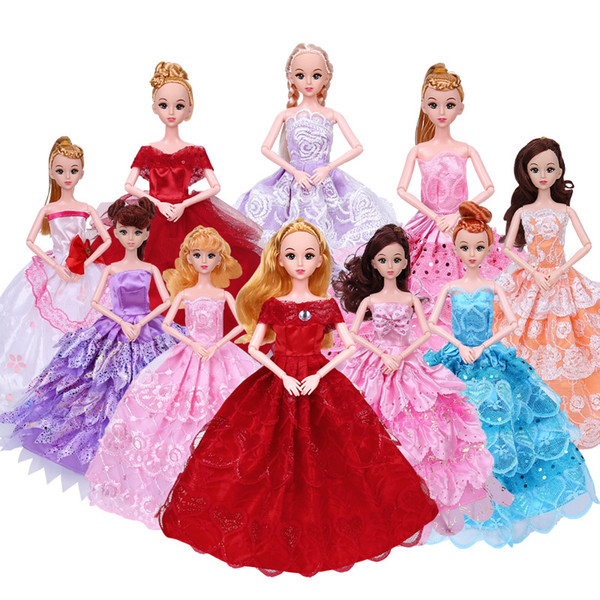 best selling Cute 30cm, 11 Inches Doll Wedding Dress& Girl Toy, 28 Lovely Style Clothes, Princess Dress Evening Dress, Christmas Kid Birthday Gift, 2-1