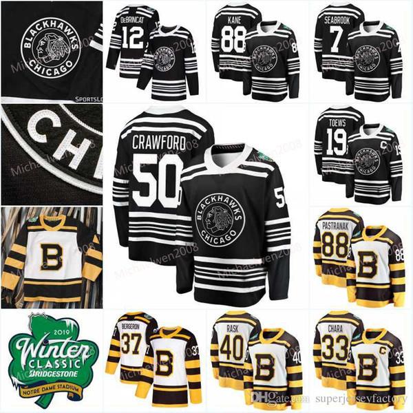 Mens 2019 Winter Classic Jerseys Brad Marchand David Pastrnak Zdeno Chara Alex DeBrincat Corey Crawford Jonathan Toews Hockey Jerseys