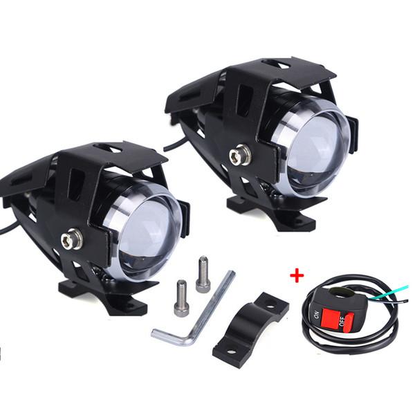 2pcs U5 universale 12V 125W del motociclo LED della lampada del faro della motocicletta della nebbia della luce del punto 125W 3000lm ha condotto la testa della lampada Moto Spotlight