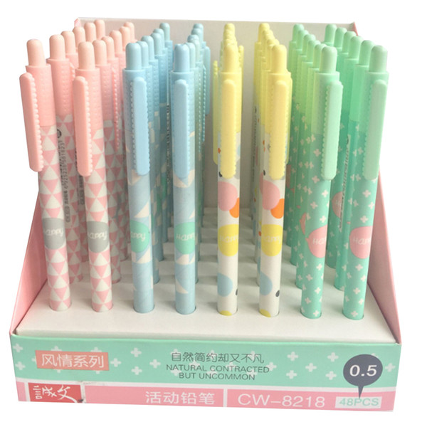 48pcs/lot Cute Simple style Automatic Pencil Activity Pencil 0.5mm for Students Drawing Office School Stationery