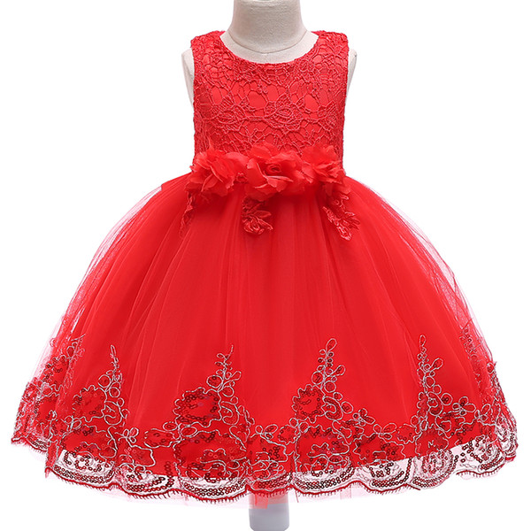 Lace Christmas Girl Snow White Skirt kids dresses Dancing Party Wear Clothes Flower Teenager Formal Wedding Dress XF17