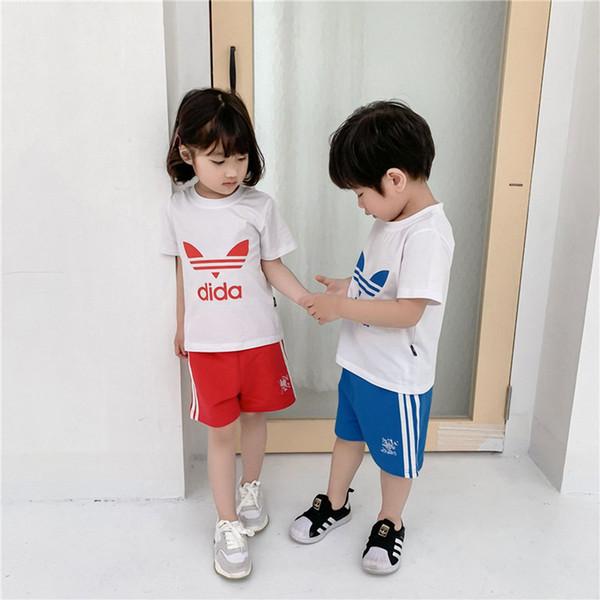 Kids Designer Clothes Girls Boys AD Letter T shirt + Shorts kids Tracksuit Two Piece suit Brand kids short set Summer Outfit sale C52501