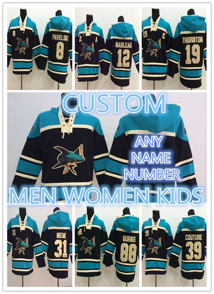 CUSTOM 19 Joe Thornton San Jose Sharks 8 Joe Pavelski 88 Brent Burns 39 Logan Couture 12 Patrick Marleau Hoodie Sweater Hockey Jersey