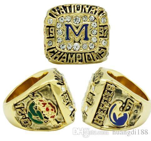 real fine wholesale free shipping 1997 Michigan State University NCAA National League Rose Bowl Champion Ring Men rings
