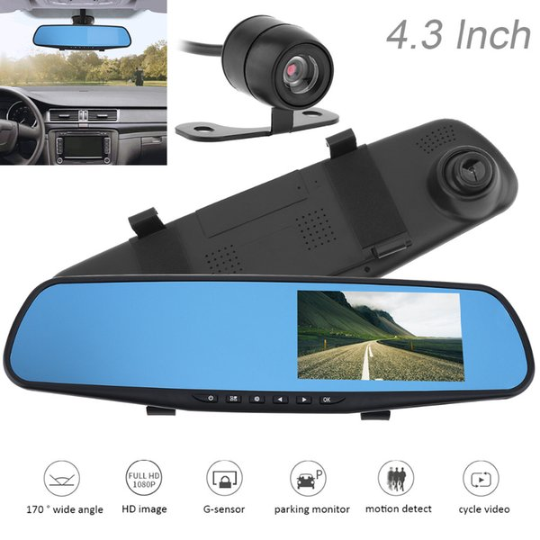 ideo recorder 1080P Full HD Rearview Mirror Car DVR Motion Detection Night Vision G-sensor Dual Channel Video Recorder + Auto Rear View C...