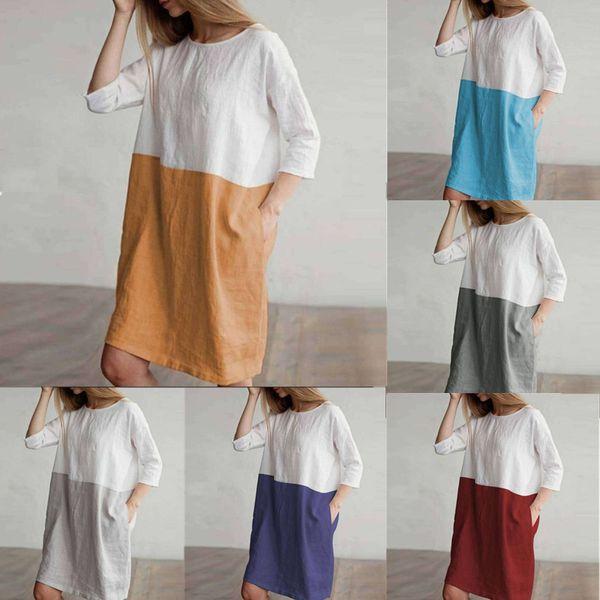 Plus Size Women Linen Cotton Loose Dress Color Block Long Sleeve Shirt Dresses Summer Three-quarter Pocket O Neck long T shirt Tops C43001
