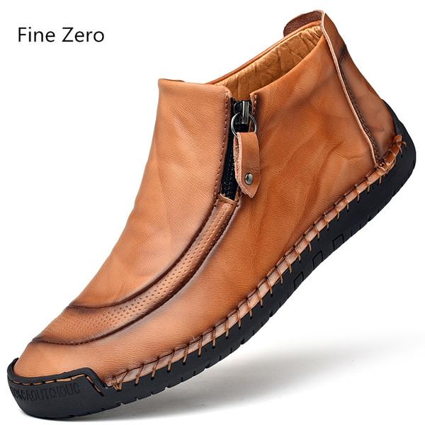 Cowhide Split Leather Men Autumn Winter Warm Plush Work Boots Ankle Dress Boots Outdoor Business Snow Men Oxfords Shoes