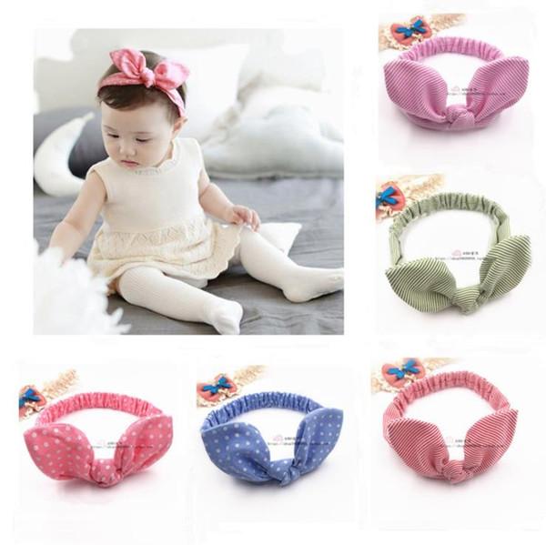 hair bows for kids 5 colors printing dot designer headbands baby girls beautiful long rabbit ears headband children hair accessories