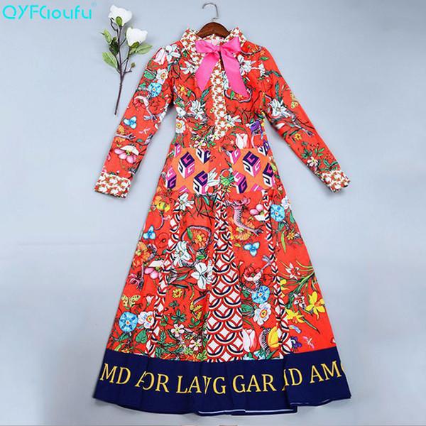 Zomer Jurk Vrouwen Lange Mouwen Hoge Kwaliteit Designer Runway Fashion Boog Bloemenprint Party Lange Jurk Plus Size