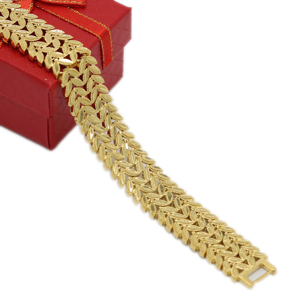 2 Rows Leaf Patterned Wrist Chain Yellow Gold Filled 17mm Wider Men Bracelet Gift