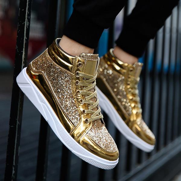 Men Golden Sneakers High Top Sneakers Casual Shoes Mens