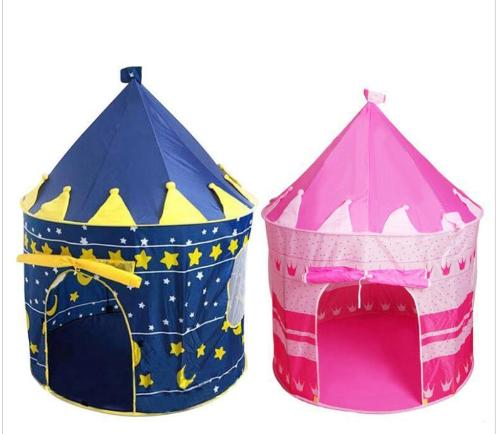 Wholesale Large Blue Pink Castle Prince Princess Indoor Outdoor Foldable Tipi Pop Up Kids Tent Portable Garden Cubby Toy Playhouse