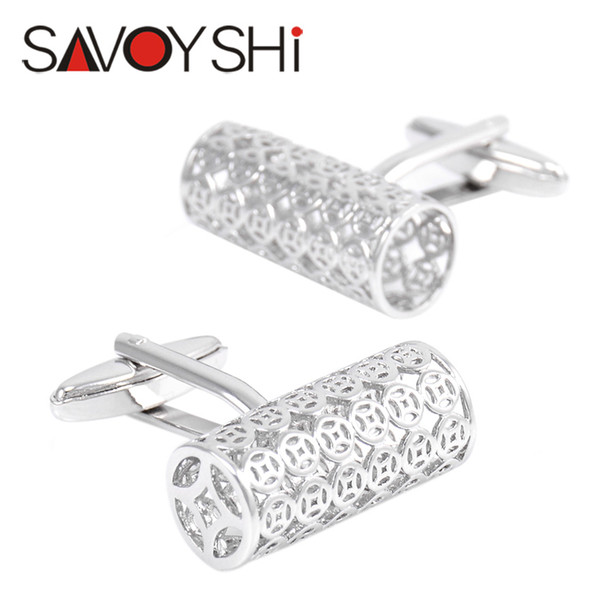 SAVOYSHI French Shirt Cufflinks for Mens Fine Gift Cuff bottons High Quality Silver Cuff links Brand Designer Men Jewelry