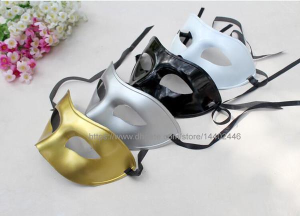200pcs Masque De Bal Fantaisie Dress Up Party Ball Masques De Mascarade Vénitienne En Plastique Demi-Masque Masque Noir Blanc Or Couleur Argent