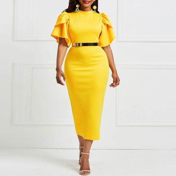 Clocolor Fashion Yellow Office Ladies manica corta aderente tunica donne Ruflles usura da lavoro partito di sera femminile Midi abito a matita Y19053001
